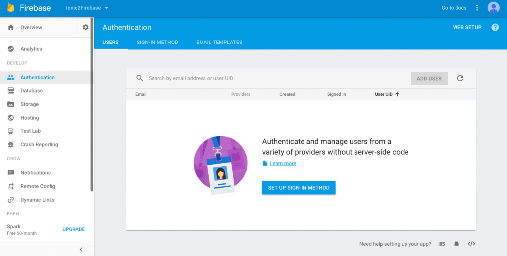 Firebase authentication setup