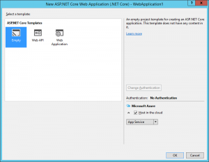 Empty ASP.NET Core application in Azure