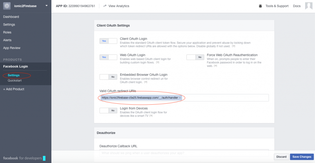 Facebook Login client oauth settings