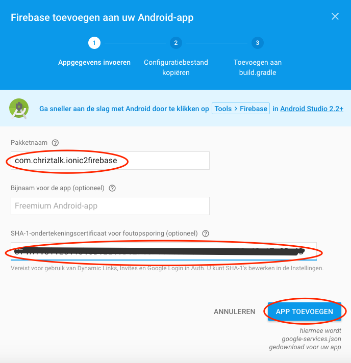 Add Firebase to Android app step 1