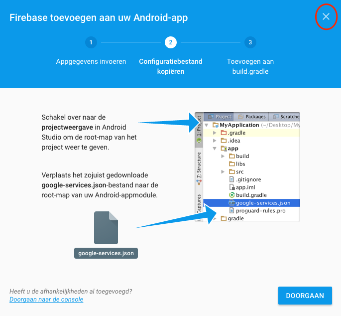 Add Firebase to Android app step 2